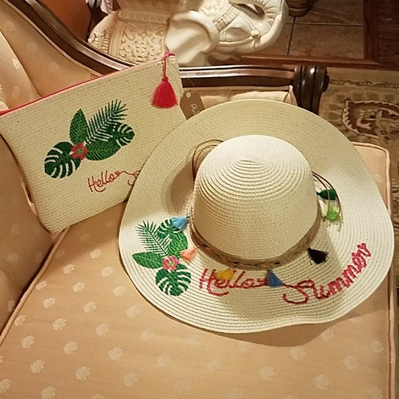 Cream embroidered beach hat and purse. 49cea205bfe